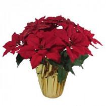 21 in. Red Glittered Silk Poinsettia Arrangement (Case of 6)