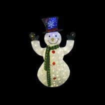 50 in. White Thread Snowman Decor with 100 LED Lights (Plug In)