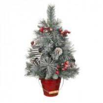 24 in. Snowy Pine Tree in Red Metal Bucket