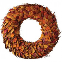 28 in. Artificial Harvest Wreath with Orange Dried Leaves
