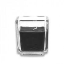 2 in. Black Square Glass Votive Candles (12-Box)