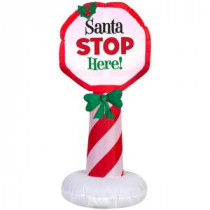 20.47 in. W x 18.11 in. D x 42.13 in. H Lighted Inflatable Outdoor Santa Stop Here Sign