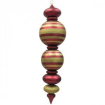 44 in. Red and Gold Shatterproof Finial with Stripes