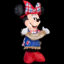 24.41 in. W x 18.90 in. D x 42.13 in. H Inflatable Minnie as Scarecrow