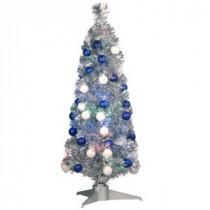 3 ft. Silver Fiber Optic Fireworks Ornament Artificial Christmas Tree