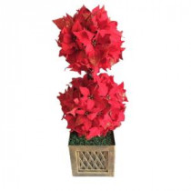 2.417 ft. indoor Artificial Christmas Tree with Poinsettia Topiary in Pot
