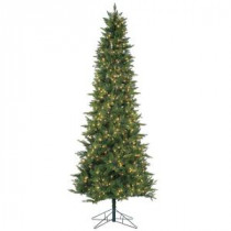 9 ft. Pre-Lit Natural Cut Salem Spruce Artificial Christmas Tree with Power Pole and Clear Lights