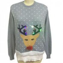 0.4 in. Christmas Sweater in Deer Image with LED Lights
