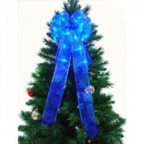 9 in. 36-Light LED Blue Ribbon Bow