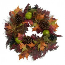 24 in. Fall Fruit and Leaves Wreath