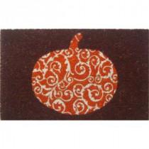 Scrolled Pumpkin 17 in. x 28 in. Non-Slip Coir Door Mat