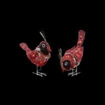 Pre-Lit Red Burlap Birds (2-Set)