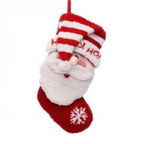20 in. Polyester/Acrylic Hooked Christmas Stocking with 3D Santa