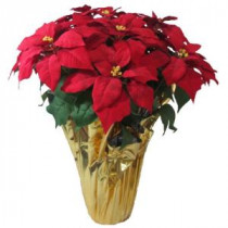 28 in. Extra Large Red Silk Poinsettia Arrangement (Case of 2)