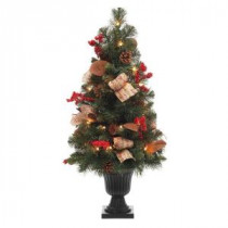 32 in. Natural Pine Potted Artificial Christmas Tree with Pinecones, Red Berries and Burlap-2167780HD 205080560