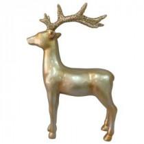 15 in. Winter&#39,s Wonder Gold Standing Reindeer