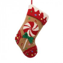 19.3 in. Polyester/Acrylic Hooked Christmas Stocking with Candy