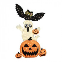 Home Accents Holiday 72 in. Burlap Stacked Pumpkin, Ghost and Owl-TY110-1624 206762215