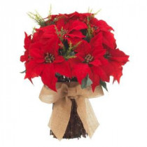 20 in. Red Poinsettia Bundle with Burlap Bow