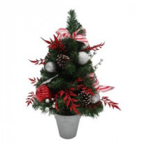 24 in. Unlit Peppermint Frost Potted Artificial Christmas Tree
