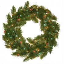 24 in. Pre-Lit Carolina Fir Artificial Wreath with Multi Colored Lights