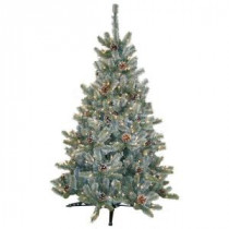 4.5 ft. Pre-Lit Siberian Frosted Pine Artificial Christmas Tree with Clear Lights and Pinecones