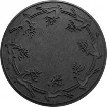 Charcoal 35 in. Round Reindeer Run Under the Tree Mat