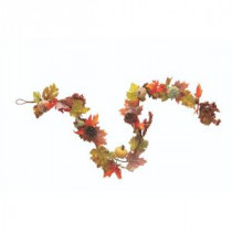 Home Decorators Collection Green Harvest 6 in. Garland with Pumpkin, Gourd and Maple Leaf-9748500730 300134221