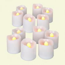 Battery Operated White Super Bright Votive Candle (2 Packs of 6)