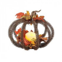 8 in. Metal Wire Pumpkin Centerpiece with LED Timer Candle