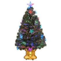 36 in. Fiber Optic Fireworks Artificial Christmas Tree with Star Decorations