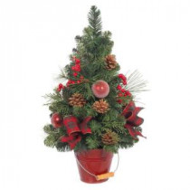 24 in. H Holiday Pine Tree with Red Berries and Ornaments in Red Bucket Pot