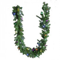 9 ft. LED Pre-Lit Branch Garland with Micro-Style Pure White and C6 Multi-Color Lights