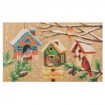 Winter Birdhouse Burlap 18 in. x 30 in. Door Mat