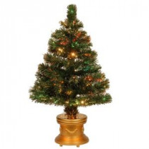 48 in. Fiber Optic Radiance Fireworks Artificial Christmas Tree and Gold Base