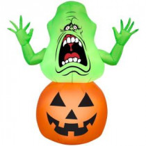 42.13 in. W x 20.47 in. D x 39.37 in. H Inflatable Slimer on Pumpkin-Ghostbusters