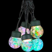 8-Light Multi-Color Round Projection String Lights with Clips