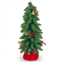 24 in. Unlit Downswept Forest Artificial Christmas Tree with Cones and Red Berries