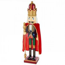 26 in. Wooden Nutcracker King with Red Cape