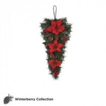 Martha Stewart Living 32 in. Unlit Winterberry Artificial Swag with Red Poinsettias, Berries and Pinecones-1757844 203264022