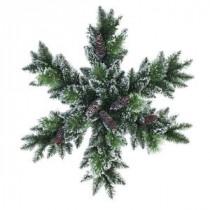 32 in. LED Pre-Lit Glittery Bristle Snowflake Artificial Christmas Wreath