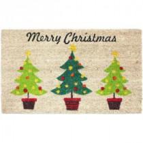 Christmas Trees Vinyl Back Coco 18 in. x 30 in. Door Mat