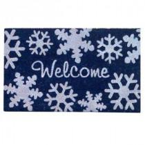 Snowflakes Blue 18 in. x 30 in. SuperScraper Vinyl / Coir Door Mat