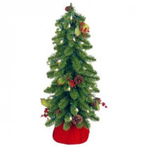 National Tree Company 2 ft. Downswept Forestree Artificial Christmas Tree with Cones, Red Berries in Red Cloth Bag and Clear Lights-FTD1-24BRDLO-1 207183167