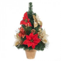 24 in. H Red and Gold Poinsettia Tree in Gold Pot