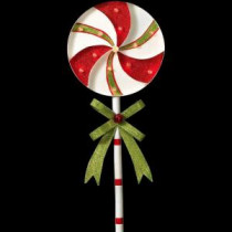 39 in. H Battery Operated Lighted Metal Holiday Pinwheel Lollipop Yard Stake