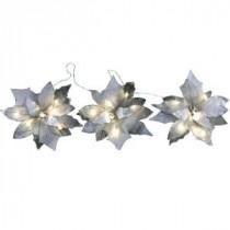 18-Light Battery Operated LED White 3-Poinsettia Flower Garland