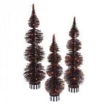 Electric Orange Lighted Black PVC Halloween Bottle Brush Trees (Set of 3)