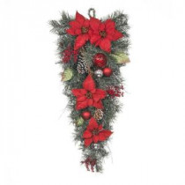 32 in. Red Poinsettia Twig Pine Teardrop with Red and Silver Balls