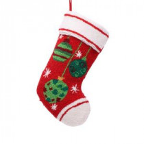 19 in. Polyester/Acrylic Hooked Christmas Stocking with Ornaments